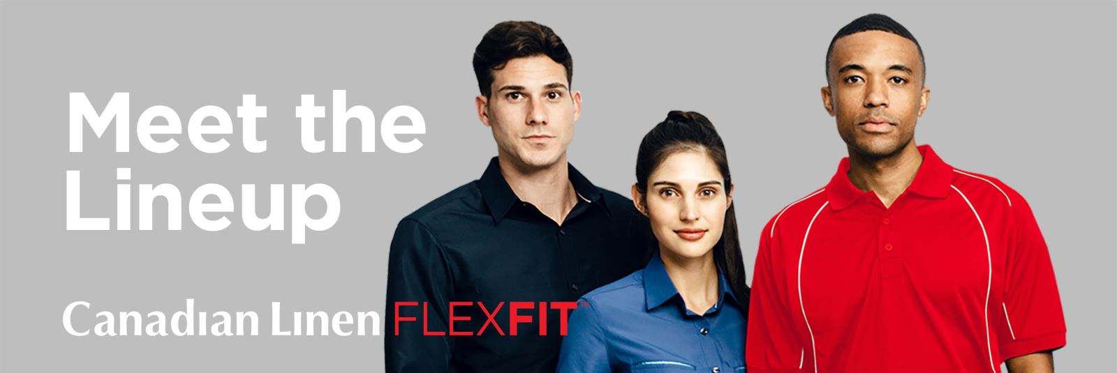 Meet the Lineup three models wearing flexFit