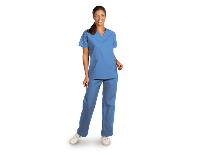 Woman wearing scrubs